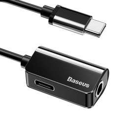 Adapter Audio Baseus L40 USB-C do Mini Jack 3.5mm i USB-C (czarny)